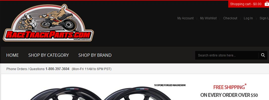 Shop Online at Racetrackparts.com